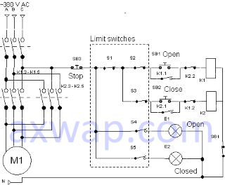 Схема управления электрозадвижкой с четырьмя концевыми выключателями