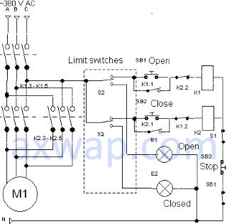 Схема управления электрозадвижкой с двумя концевыми выключателями